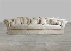 oversized sofa in sand linen