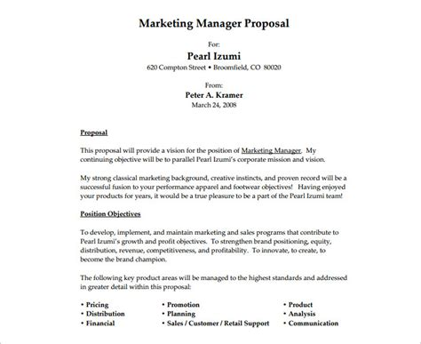 job proposal templates free word form documents