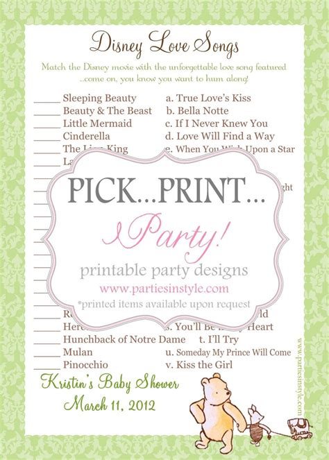 Baby Shower Songs by Baby Shower Disney Songs Printable Diy On Luulla