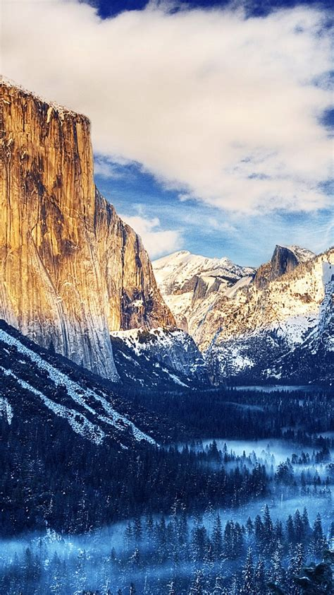 wallpaper android landscape yosemite national park winter landscape iphone 6 plus hd