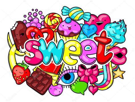 imagenes de emoticones kawaii kawaii grabado con dulces y caramelos dulce locura cosas