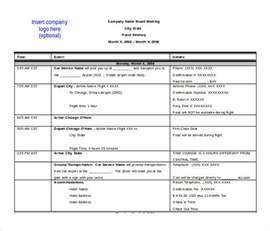 itinerary template word 13 itinerary templates free microsoft word documents