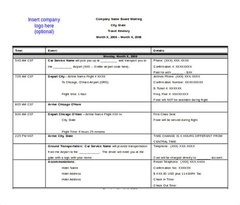 travel itinerary template word 2010 printable receipt