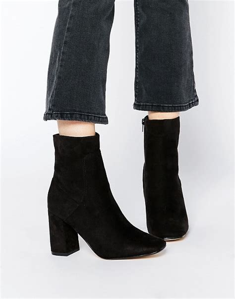 truffle collection harp square toe heeled ankle boots asos