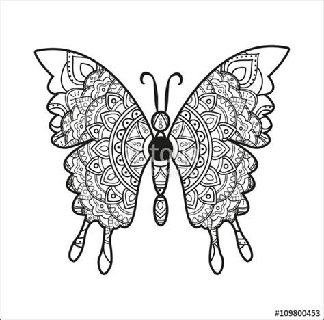 """""""Black and white mandala butterfly vector for coloring"""