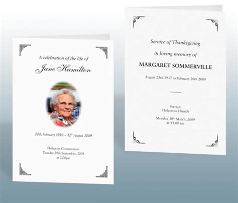memorial order of service template funeral stationery exles bereavement printing