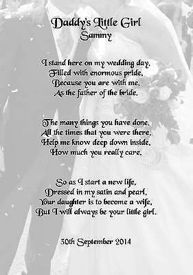 Wedding Day Thank You Gift, Father Of The Bride Poem A5