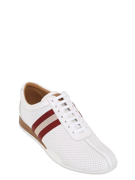 bally sneakers for bally frenz perforated leather sneakers in white for