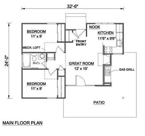 700 square feet 2 bedrooms 1 batrooms on 1 levels