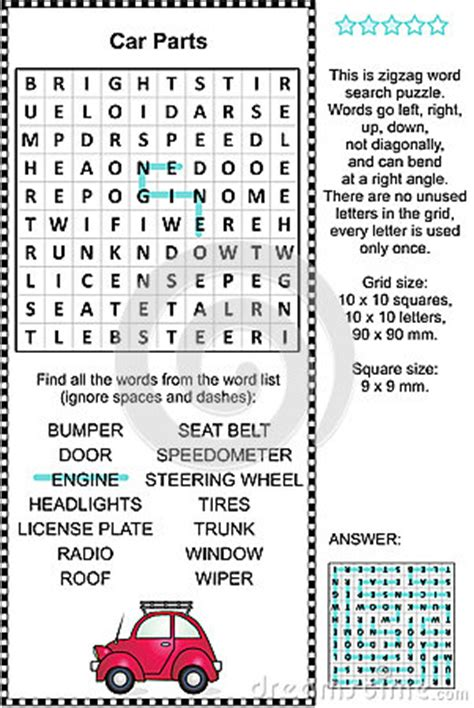 printable zigzag word search puzzles car parts themed wordsearch puzzle stock vector image