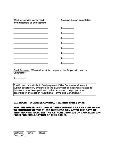 Home Improvement Contract Free Download Home Improvement Contract Template
