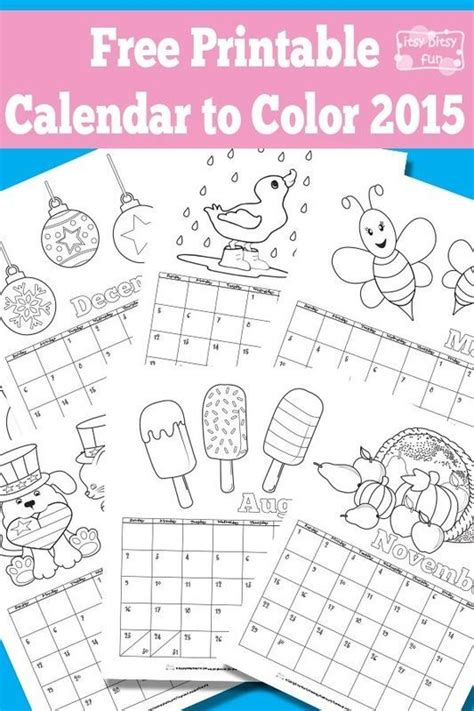printable calendar 2015 to color printable calendar for kids 2016 calendar for kids