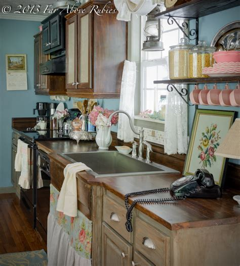 Lights Above Kitchen Cabinets Cottage Kitchen Vintage Style Farmhouse Kitchen
