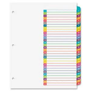 10 tab divider template avery ready index 1 31 tab dividers ave11846