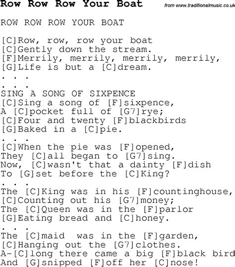 the boat i row lyrics childrens songs and nursery rhymes lyrics with easy