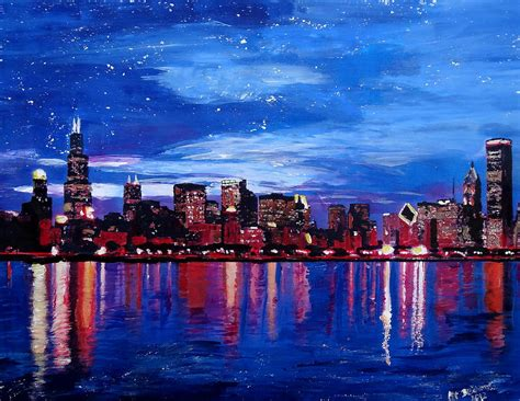 paint nite chicago chicago skyline at by m bleichner