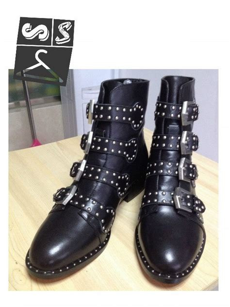 black studded ankle boots with buckels stylesnatcher shop