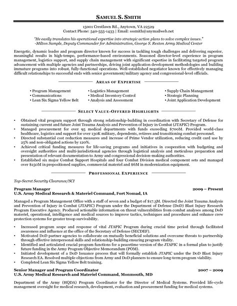 Procurement Resume Sles by Exle Resume Manager Procurement Supply Chain Inventory