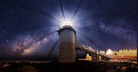 maine lighthouse universe starry night long exposure