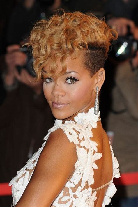 hairstyle fohawk with bump hairpiece celebrity hairstyle guide rihanna short style sensationnel