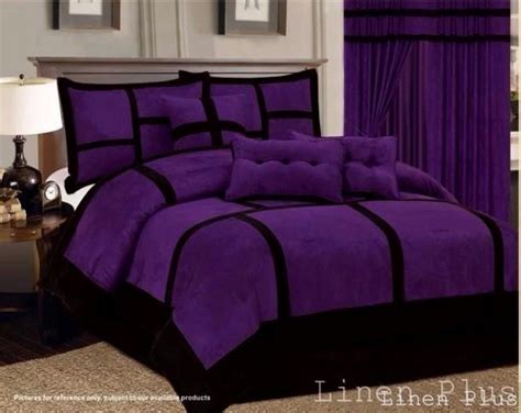Purple And Black Bedding King by 11 Patchwork Purple Black Micro Suede Comforter