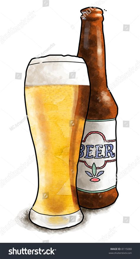 beer bottle cartoon cartoon illustration glass filled beer next stock
