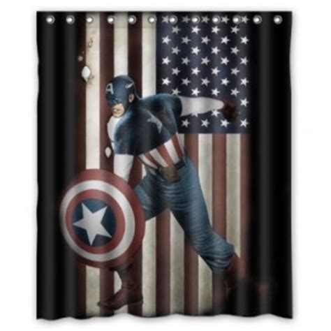 Captain America Shower Curtain Superhero Collection