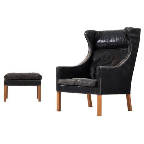 wingback chair ottoman b 248 rge mogensen wingback chair and ottoman in black leather