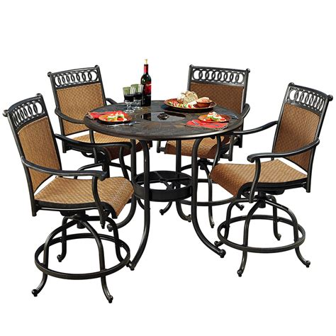 aluminum patio dining sets shop sunjoy 5 aluminum patio dining set at lowes