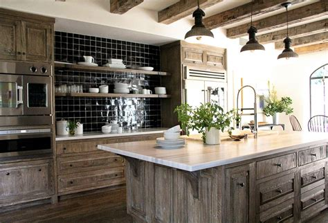 Kitchen Modern Kitchen Room With Brown Wooden Kitchen Rustic Black Kitchen Cabinets