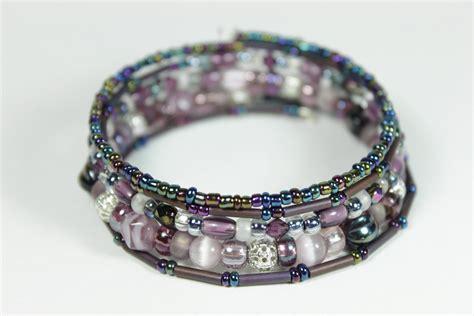 purple beaded memory wire bracelet on luulla