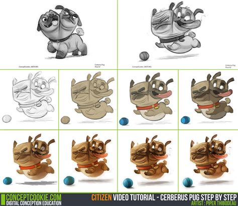 pug tutorial tutorial step by step cerberus pug by conceptcookie on deviantart