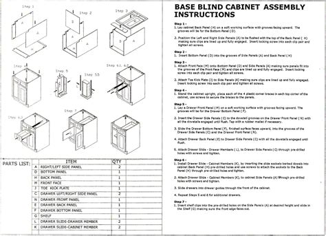 kobalt cabinet assembly instructions rta cabinet blind base assembly instruction