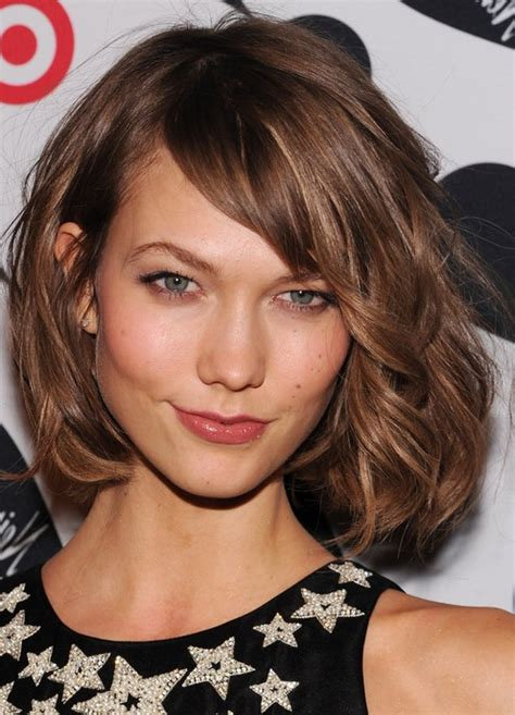 chin length haircuts for thick hair karlie kloss messy chin length bob haircut for thick hair