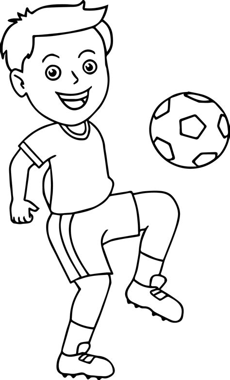 Boy Playing Coloring Page | soccer boy bouncing soccer ball on his knee playing