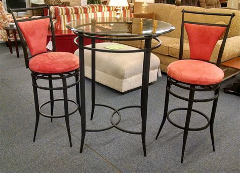 glass top bar table set glass top pub table set delmarva furniture consignment