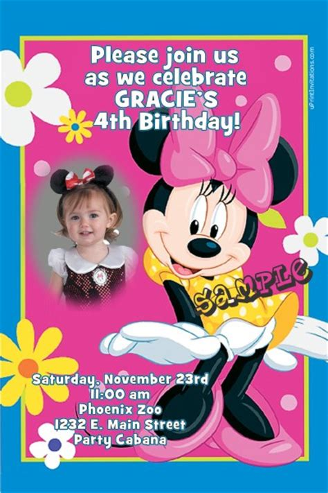 page plus minnie mouse greeting card template minnie mouse pink birthday invitations