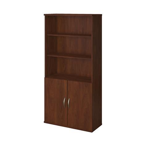 36w 5 shelf bookcase with doors in hansen cherry