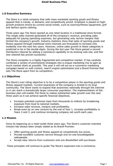 brief business plan template small business plan executive summary