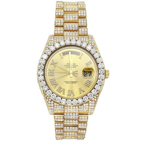 custom iced out 18k gold rolex oyster perpetual mens
