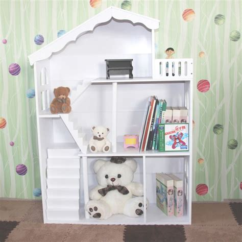 Kids Dollhouse Bookshelf Toy Storage Shelves White Buy White Dollhouse Bookcase