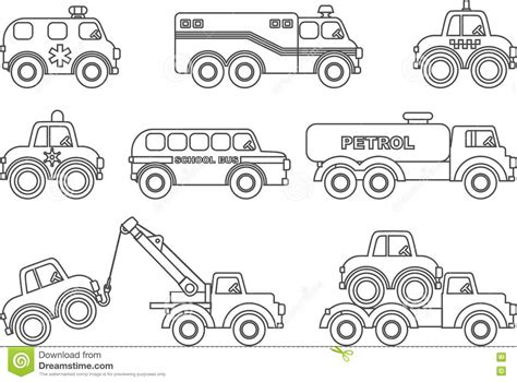 different cars coloring pages coloring pages set of different silhouettes children toys