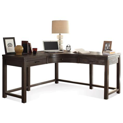 curved l shaped desk riverside furniture promenade 3 drawer curved corner desk