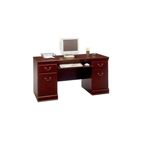 Cherrywood Computer Desk Bush Birmingham Wood Executive Credenza Harvest Cherry