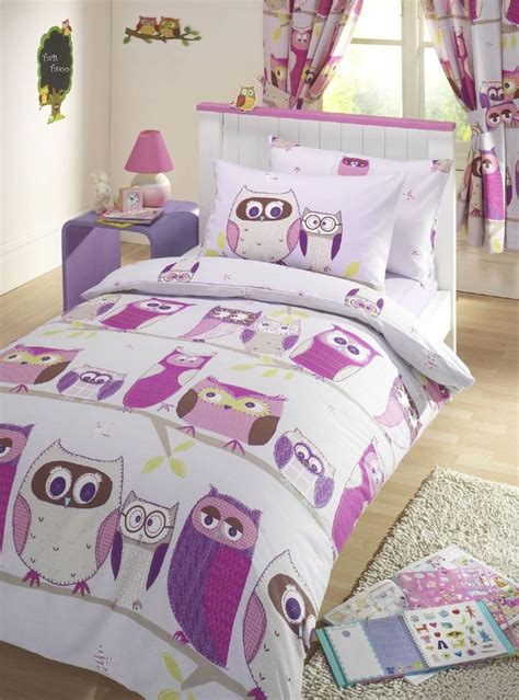 owl bed set owls pink kids girls reversible single duvet quilt cover
