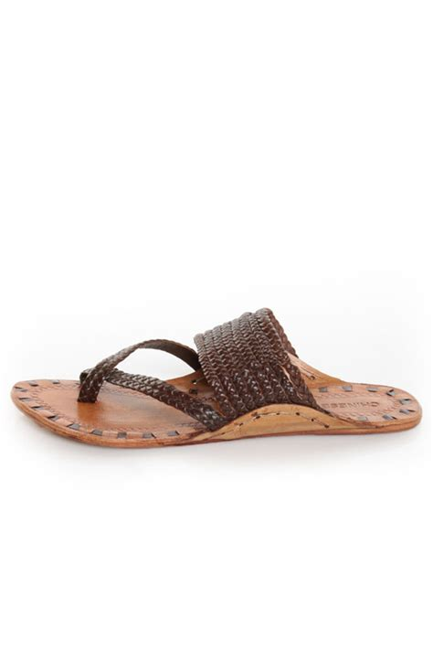 braided brown sandals laundry rock steady brown leather braided