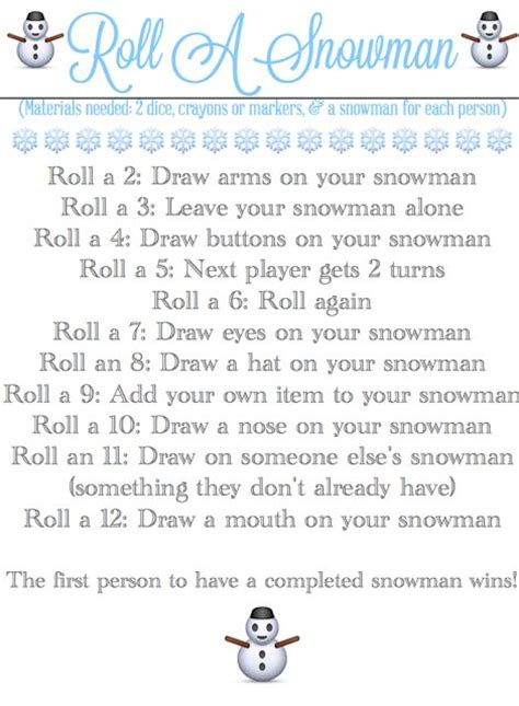 printable snowman dice game roll a snowman easy dice game printable from blissful