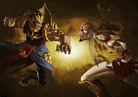 wallpaper anime nempel di kaca gatotkaca vs kratos by algiark on deviantart