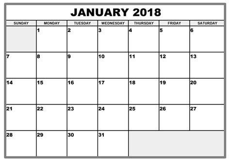 2018 Printable Calendar Word January 2018 Calendar Word Calendar Template Letter