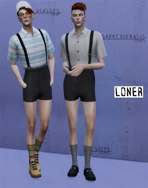 sims 4 overall shorts short overalls glasses and socks at loner 187 sims 4 updates